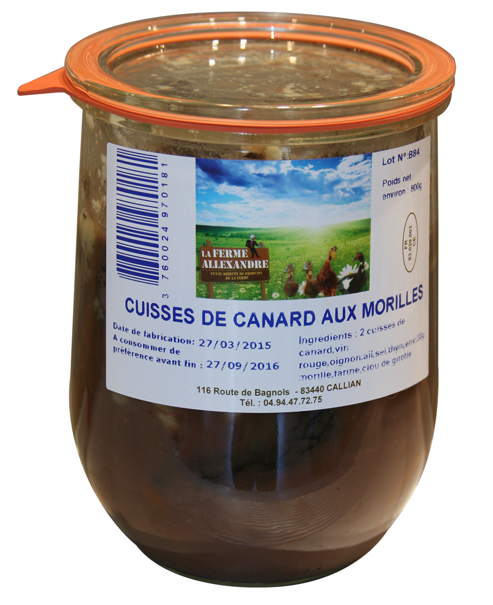 cuisse canards morilles